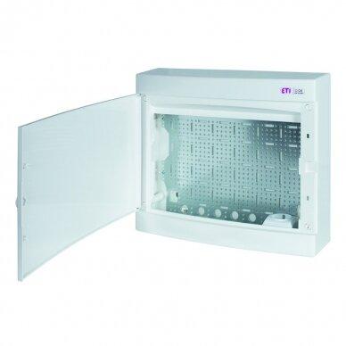 Virštinkinai plastikiniai skydeliai (IP40) su perforuota plokšte ir rozete 230 V ECT MEDIA 4