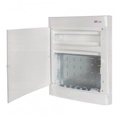 Virštinkinai plastikiniai skydeliai (IP40) su perforuota plokšte ir rozete 230 V ECT MEDIA 6