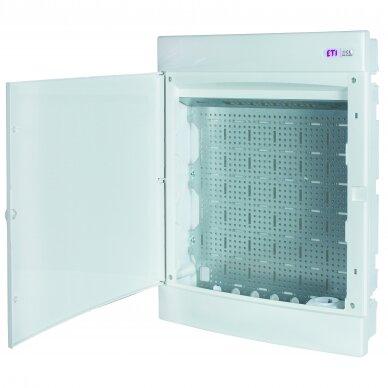 Potinkiniai plastikiniai skydeliai (IP40) su perforuota plokšte ir rozete 230 V ECM MEDIA 3