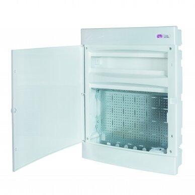 Potinkiniai plastikiniai skydeliai (IP40) su perforuota plokšte ir rozete 230 V ECM MEDIA 4