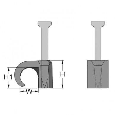 Laikiklis 5-7 mm apvaliam kabeliui (100 vnt.) 2