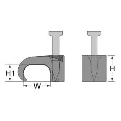Laikiklis 6x10 mm plokščiam kabeliui (100 vnt.) 2